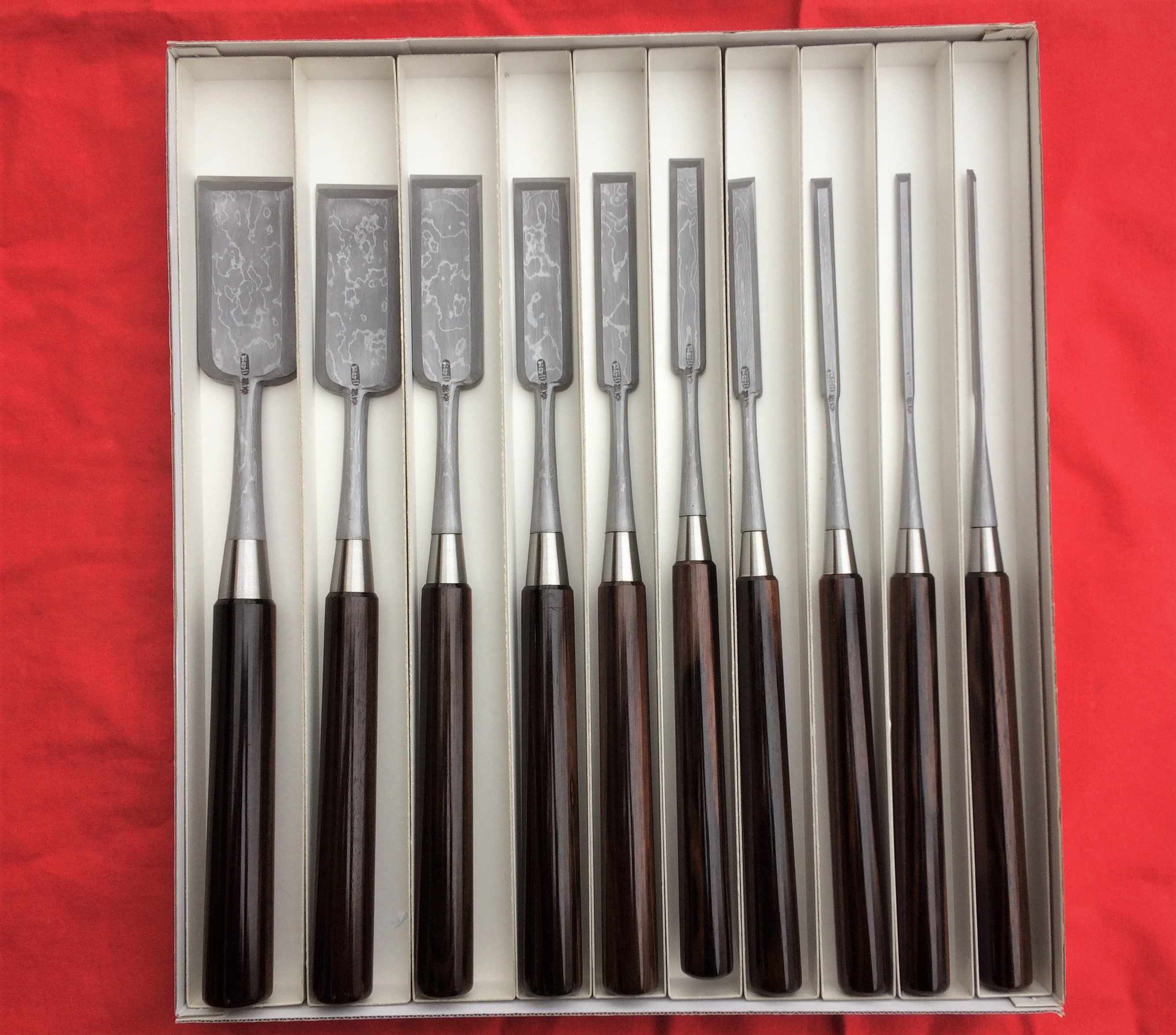 Set of ten Sword steel paring chisels(Very thin push chisels) by Fujihiro
